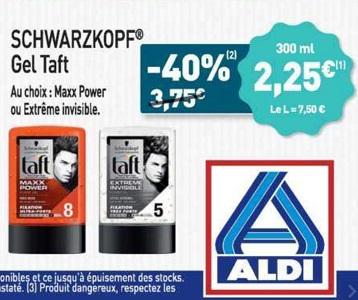 Bon Plan Gel Taft chez Aldi (20/02 - 26/02) - anti-crise.fr