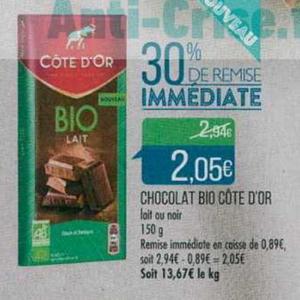 Bon Plan Tablette de Chocolat Bio Côte d'Or chez Match - anti-crise.fr