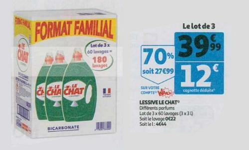 Bon Plan Lessive Liquide Le Chat chez Auchan - anti-crise.fr