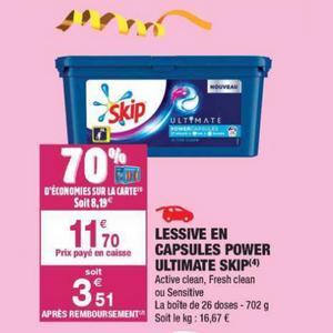 Bon Plan Lessive Skip Ultimate en Capsules chez Carrefour Market - anti-crise.fr