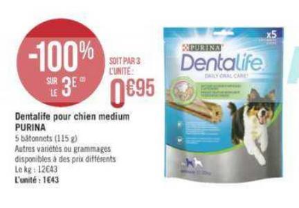 Bon Plan Friandises pour Chien Purina Dentalife chez Géant Casino - anti-crise.fr