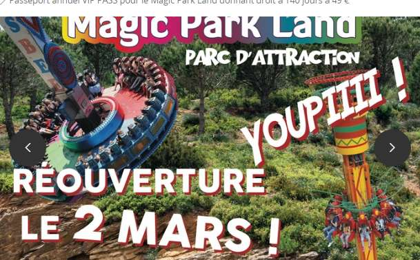 49€ le pass annuel Magic Park Land