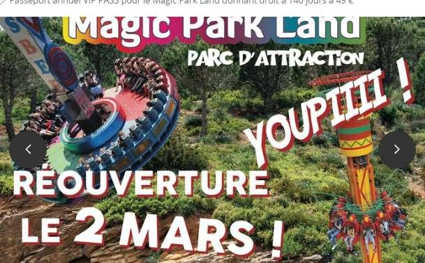49€ le pass annuel Magic Park Land