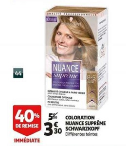 Bon Plan Coloration Nuance Suprême Schwarzkopf chez Auchan (20/03 - 26/03) - anti-crise.Fr