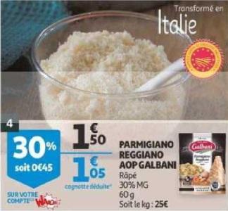 Bon Plan Parmigiano Reggiano Galbani chez Auchan (20/03 - 26/03) - anti-crise.fr