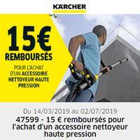 Offre de Remboursement Kärcher : 30€ Remboursés sur Accessoire Nettoyeur Haute Pression