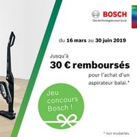 Offre de Remboursement Bosch : 30€ Remboursés sur Aspirateur Balai