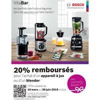Offre de Remboursement Bosch : 20% Remboursés sur Appareil à Jus ou Blender