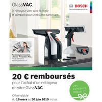Offre de Remboursement Bosch : 20€ Remboursés sur Nettoyeur de Vitre GlassVac