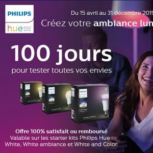 Offre d'Essai Philips : Starter Kits Hue Satisfait ou 100% Remboursé