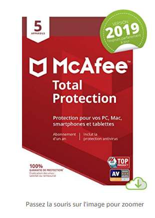 10,9€ l'antivirus McAfee Total Protection 2019  pour 3 appareils