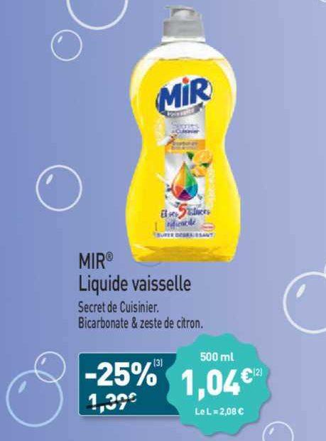 Liquide Vaisselle Mir chez Aldi (24/06 – 25/06)