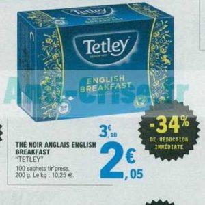 Thé noir x100 Tetley chez Leclerc Centre-Est (12/06 – 22/06)