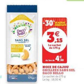 Noix de Cajou Daco Bello chez Magasins U EST (18/06 – 22/06)