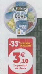 Salade Bowl Sodebo chez Hyper U Nord (18/06 – 22/06)