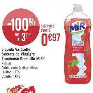 Liquide vaisselle Mir chez Géant Casino (18/06 – 30/06)