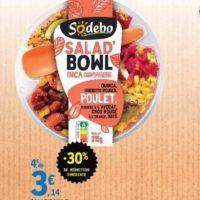 Salade Bowl Sodebo chez Leclerc Centre-Ouest (25/06 – 29/06)