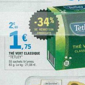 Thé vert Tetley chez Leclerc Centre-Est (12/06 – 22/06)