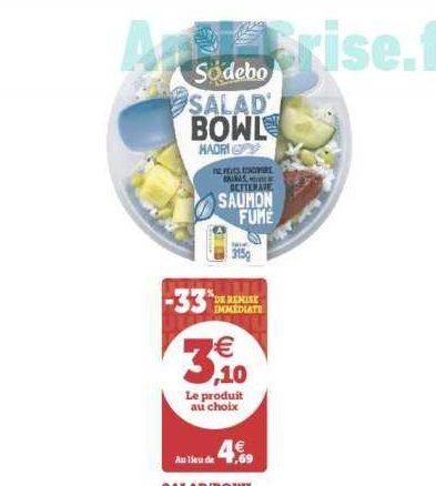 Salade Bowl Sodebo chez Magasins U (18/06 – 22/06)