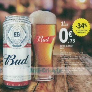 Pack de bière 12x25cl Bud chez Leclerc Nord (24/06 – 29/06)
