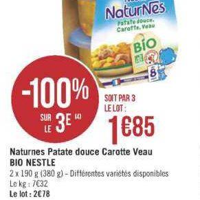 Naturnes Repas Complet Patate Douce Bio Nestlé Bébé chez Géant Casino (25/06 – 07/07)