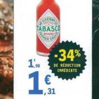 Sauce pimentée Tabasco chez Leclerc Nord-Est (25/06 – 29/06)