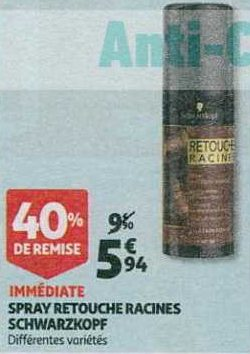 Spray Retouche Racines Schwarzkopf chez Auchan (19/06 – 25/06)