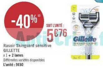 Rasoir Skinguard Gillette chez Géant Casino (25/06 – 07/07)