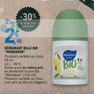 Déodorant bio Monsavon chez Leclerc IDF (11/06 – 22/06)