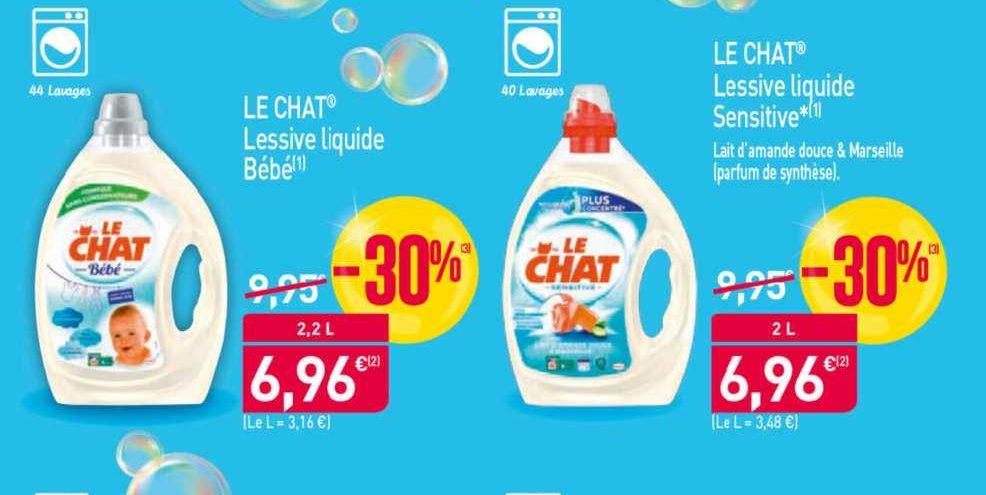 Lessive Liquide Bébé ou Sensitive Le Chat chez Aldi (20/06 – 25/06)