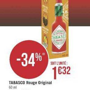 Sauce Pimentée Tabasco chez Géant Casino (18/06 – 30/06)