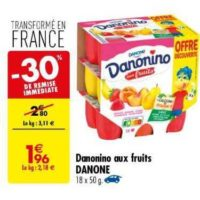 Yaourts aux fruits Danonino chez Carrefour (11/06 – 24/06)