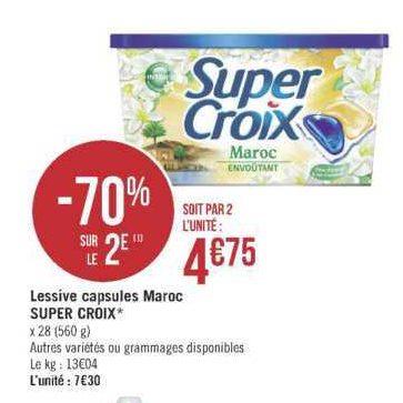 Lessive en Capsules Super Croix chez Géant Casino (25/06 – 07/07)