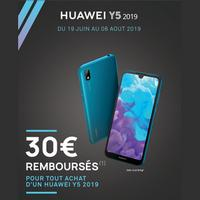 Offre de Remboursement Huawei : 30€ Remboursés sur Smartphone Y5 2019