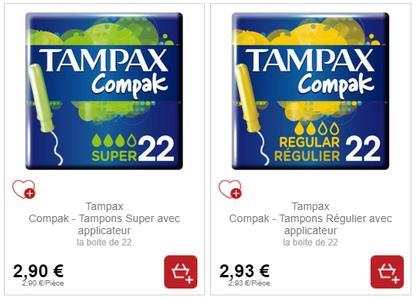 Tampons Compak Tampax partout