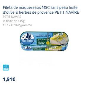 Filets de Maquereaux Sans Peau Petit Navire (29/07)