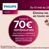 Offre de Remboursement Philips : 80€ Remboursés sur Epilateur à Lumière Pulsée Lumea