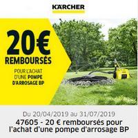 Offre de Remboursement Kärcher : 20€ Remboursés sur Pompe d'arrosage BP