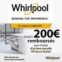 Offre de Remboursement Whirlpool : Jusqu'à 200€ Remboursés sur Lave-vaisselle