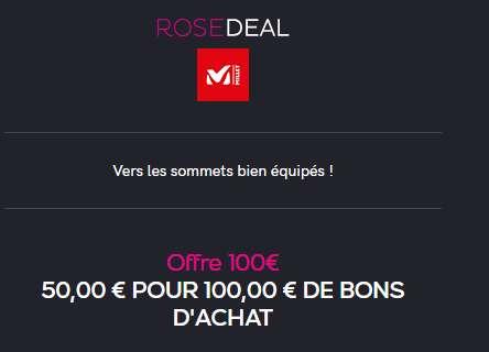 50€ le bon d'achat MILLET de 100€