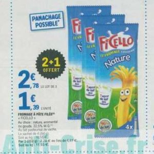 Fromage Ficello chez Leclerc Nord-Est (23/07 – 03/08)