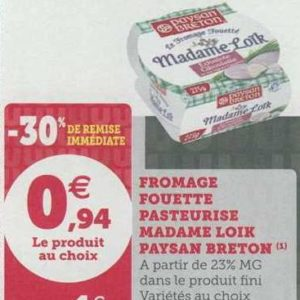 Fromage Fouetté Madame Loïk chez Magasins U (23/07 – 27/07)