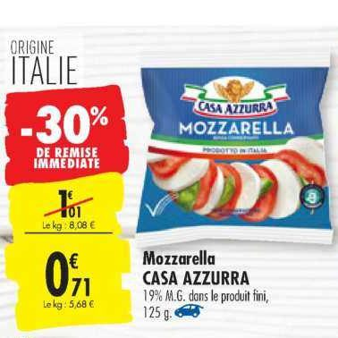 Mozzarella Casa Azzurra chez Carrefour (16/07 – 22/07)