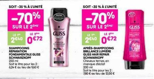 Shampoing ou Après-Shampoing Gliss chez Leader Price (16/07 – 28/07)