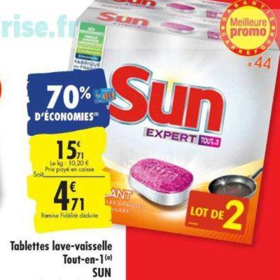 Tablettes Lave-Vaisselle Sun chez Carrefour 23/07 – 29/07)