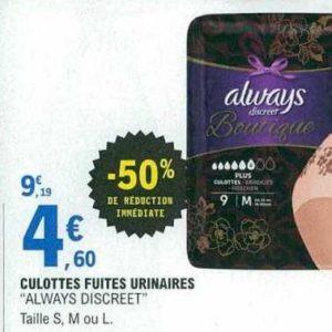 Culottes Boutique Always chez Leclerc Centre-Est (23/07 – 03/08)