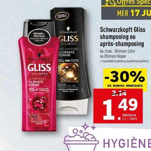 Shampoing ou Après-Shampoing Gliss chez Lidl (17/07)