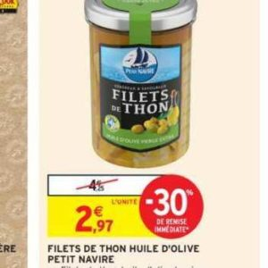 Filet de thon Petit Navire chez Intermarché (16/07 – 28/07)