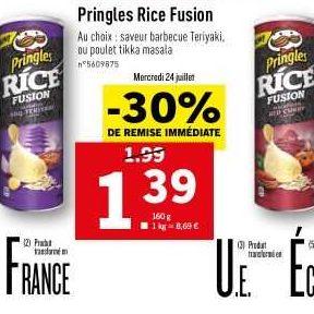Biscuits apéritif Pringles Rice Fusion chez Lidl (24/07 – 30/07)