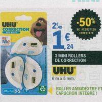 Rollers de correction Uhu chez Leclerc (16/07 – 27/07)